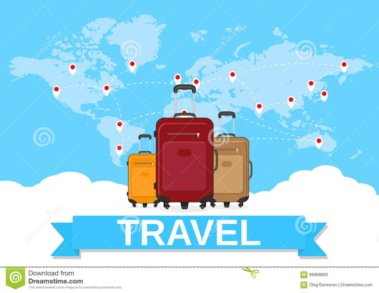 Travel bag and world map stock vector illustration of icon 66868890 download comp gumiabroncs Image collections