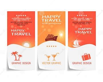 Travel Banner Poster Sticker Flyer Ticket Design Stock Vector - Image ...