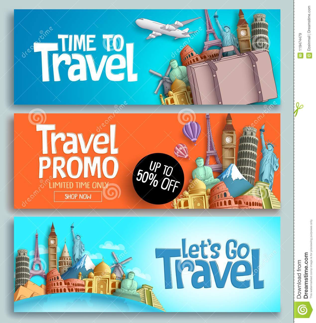 Travel banner set vector template design with travel and tour text