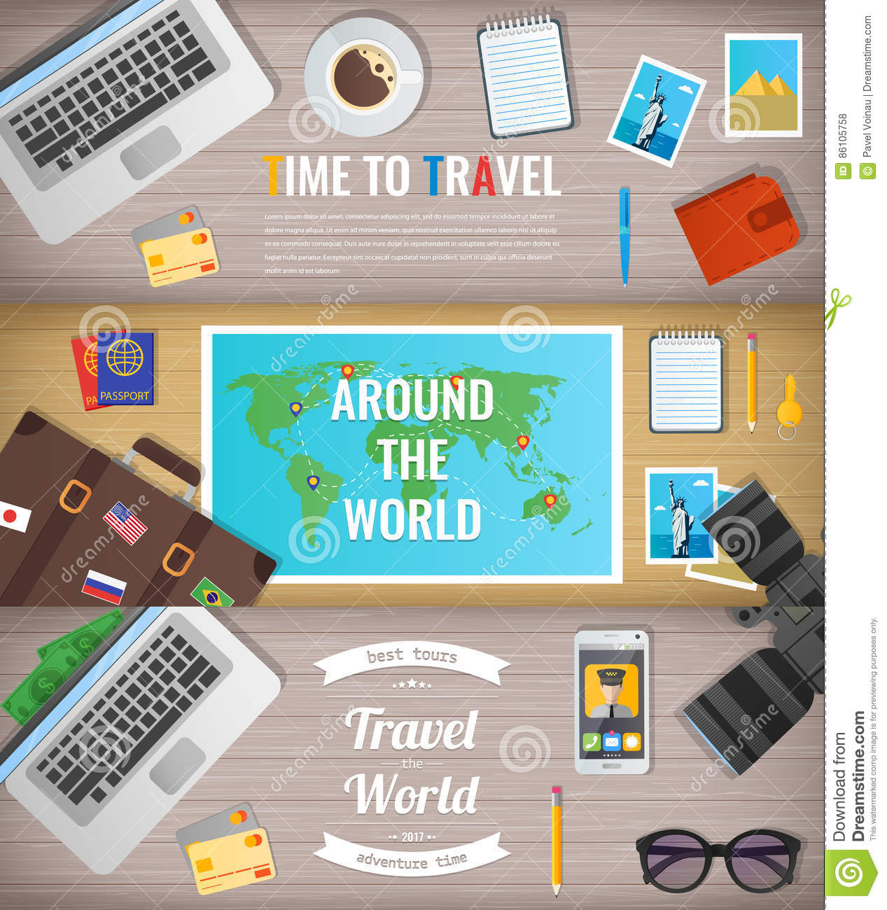 Travel Banners Travel And Tourism Web Banner Objects On Wooden Background Flat Design Vector Stock Vector Illustration Of Equipment Card 86105758