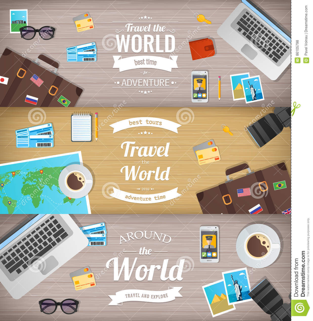 Travel Banners Travel And Tourism Web Banner Objects On Wooden Background Flat Design Vector Stock Vector Illustration Of Laptop Journey 86105798