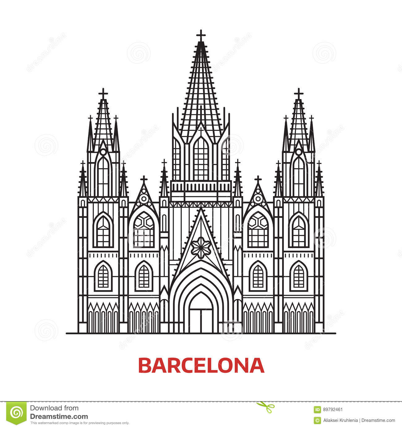 Travel Barcelona Landmark stock vector. Illustration of catholic ...