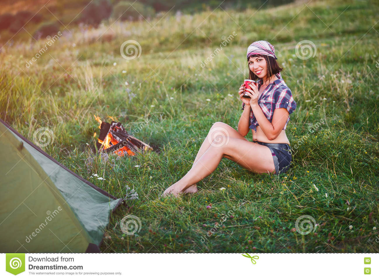 Royalty-Free Stock Photo  sc 1 st  Dreamstime.com & Travel With Bicycle Alone - Young Woman In The Tent Stock Image ...
