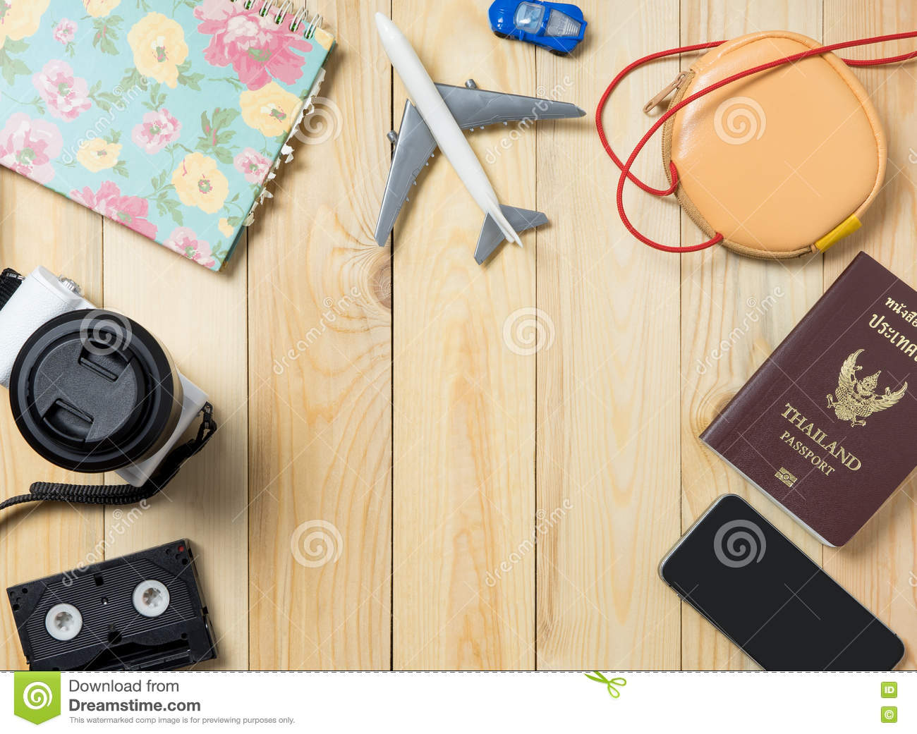 travel blogger items for summer vacation stock photo image of