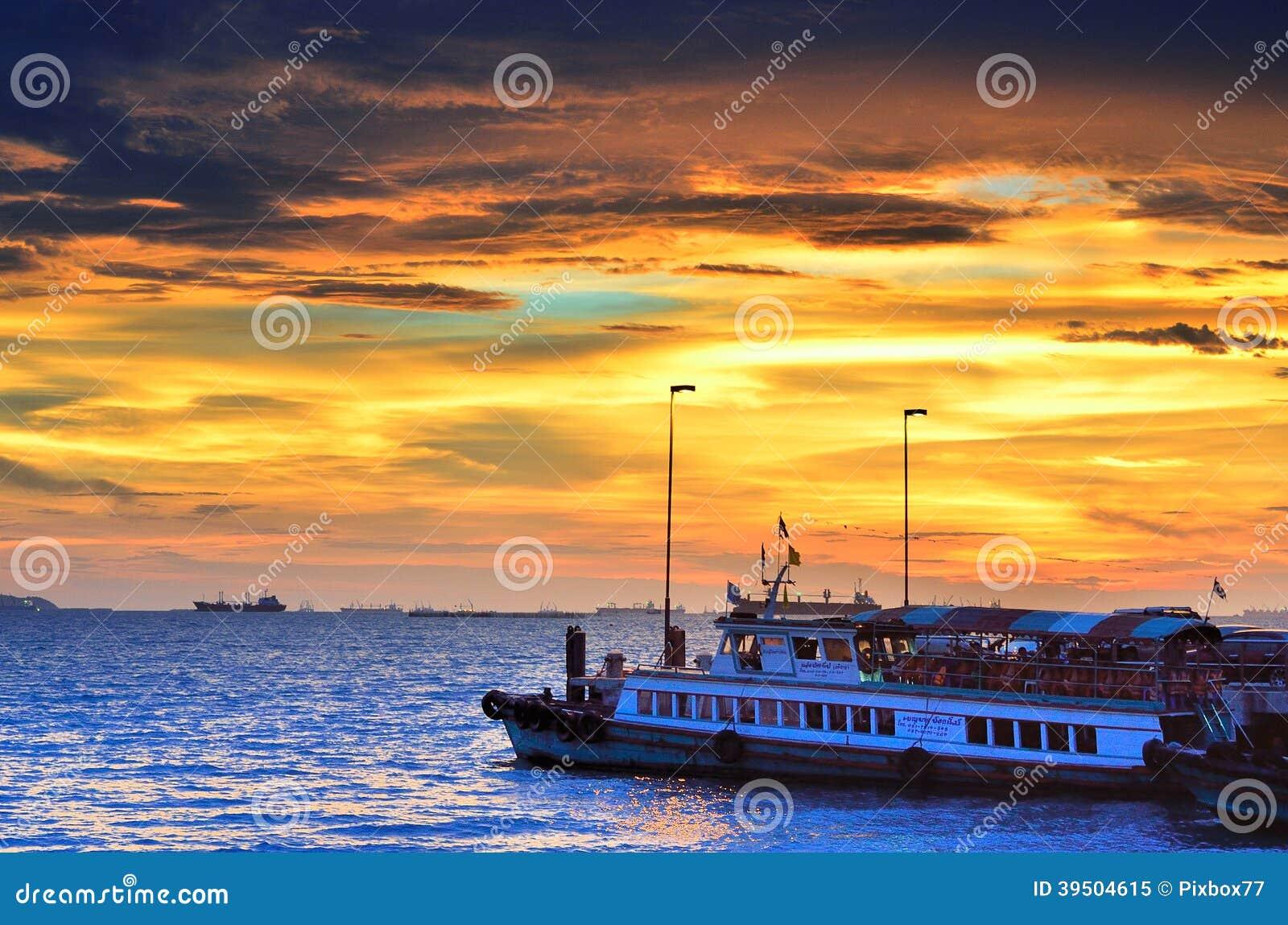 Travel boat waiting for traveler at Sriracha, Chonburi, Thailand