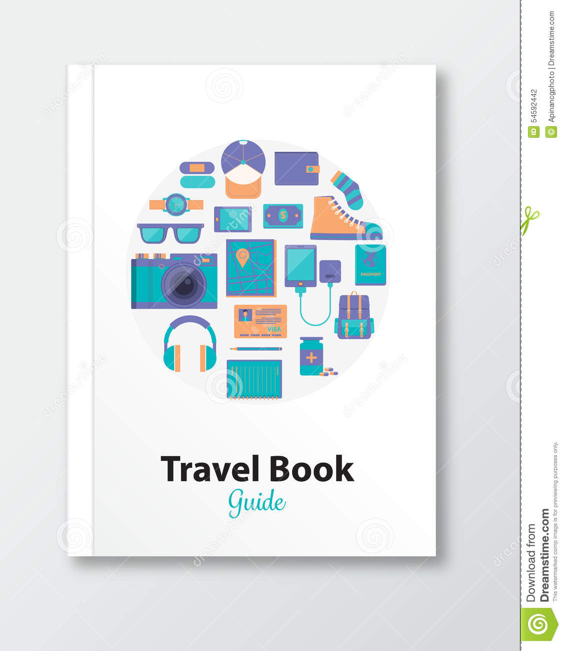 Book Cover Illustration Contract ~ Travel book cover design template stock illustration