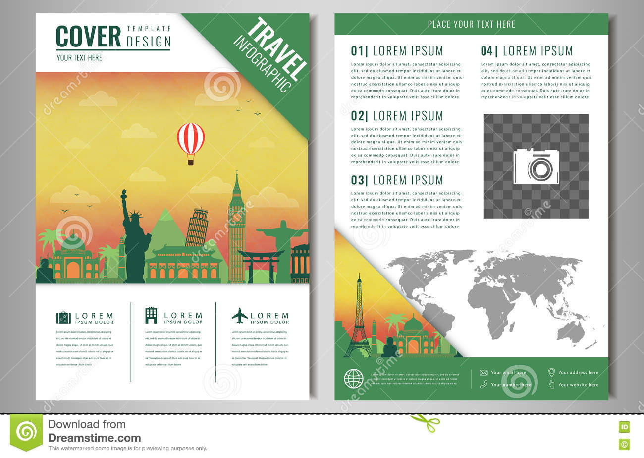 Travel Brochure Design With Famous Landmarks And World Map