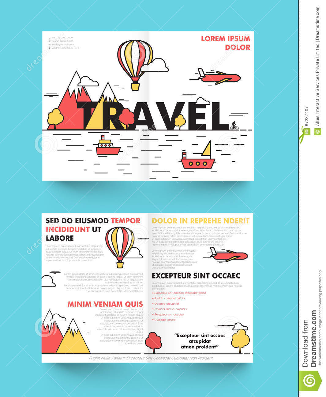 two page brochure template - travel brochure template or flyer design stock