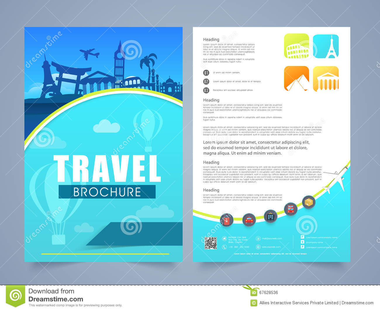 free templates for flyers and brochures - travel brochure template or flyer design stock