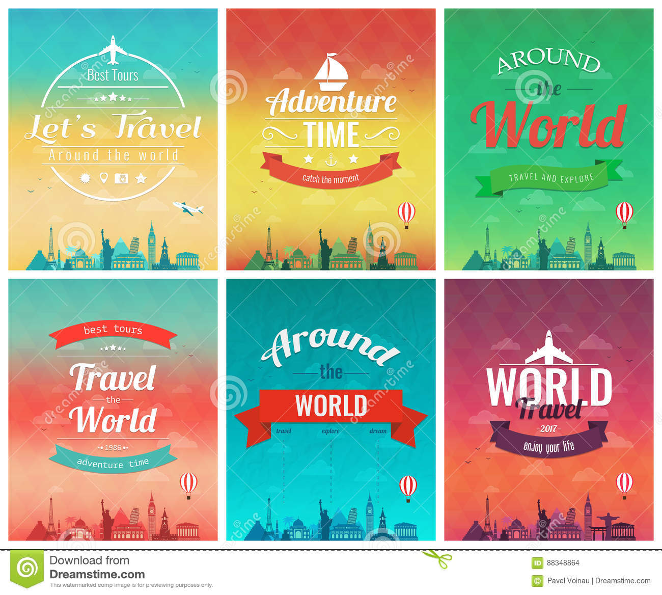 Download Travel Brochure With World Landmarks. Template Of Magazine, Poster, Book Cover, Banner, Flyer. Vector Stock Vector - Illustration of adventure, business: 88348864