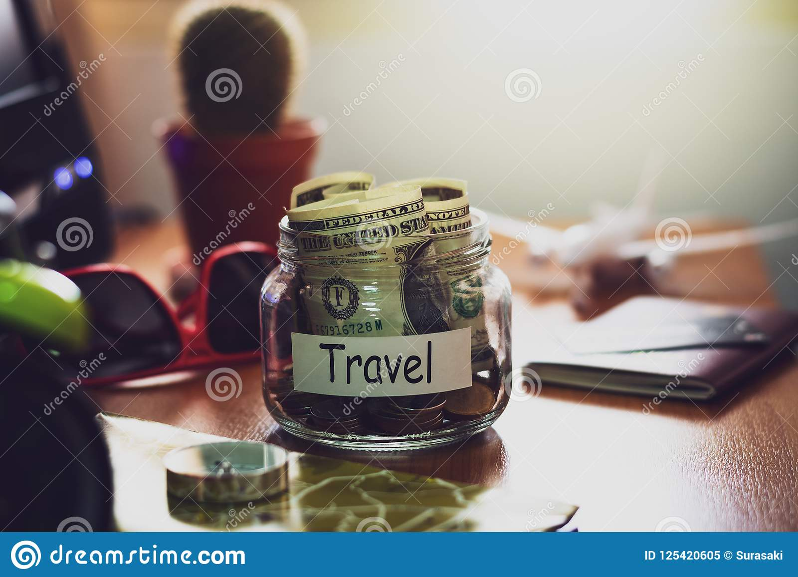 Travel Budget Concept Money For Travel Savings In A Glass Jar O Stock Image Image Of Cash Ideas 125420605