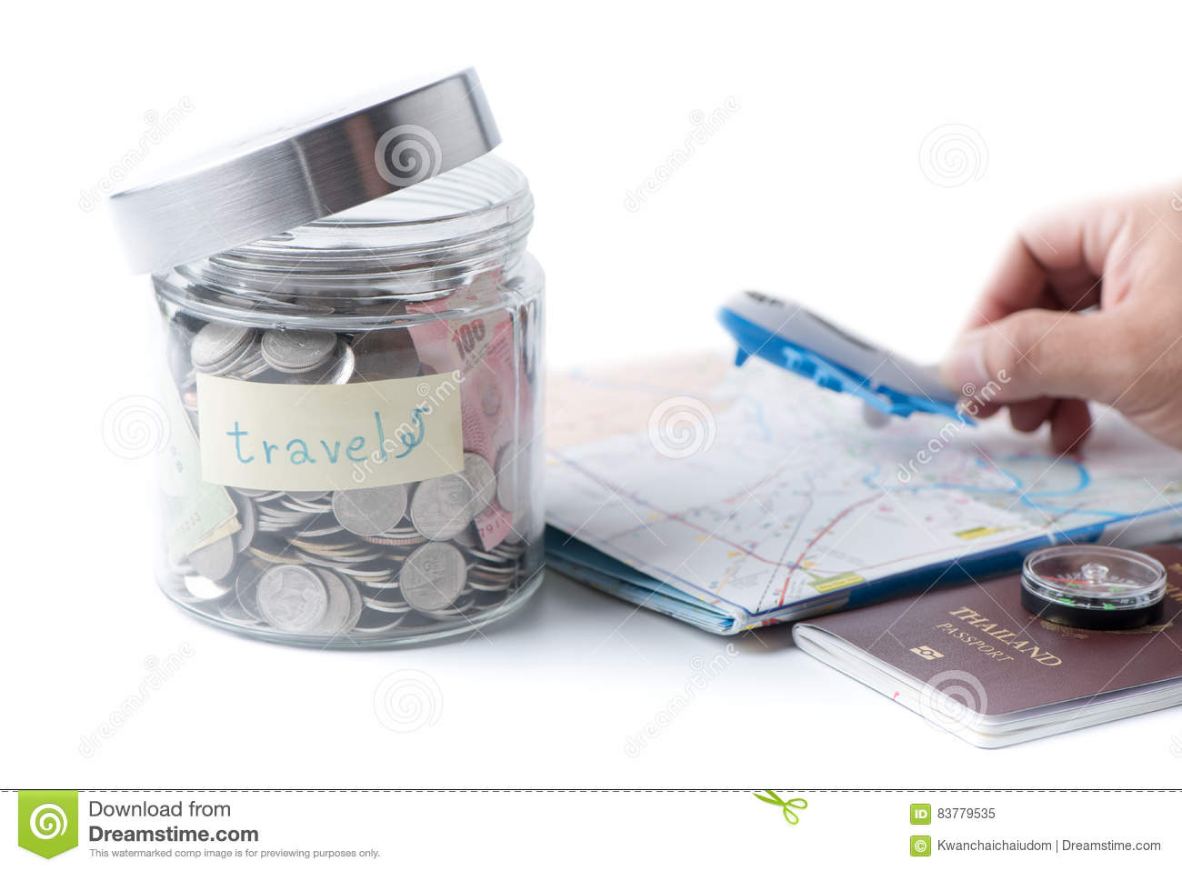 Travel budget concept travel money savings in a glass jar stock royalty free stock photo gumiabroncs Images