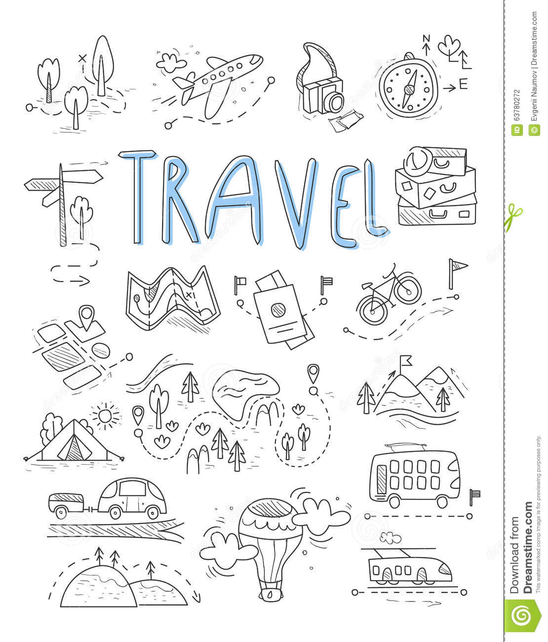 Travel, camping icons in Doodle style great set vector illustration deae817e19