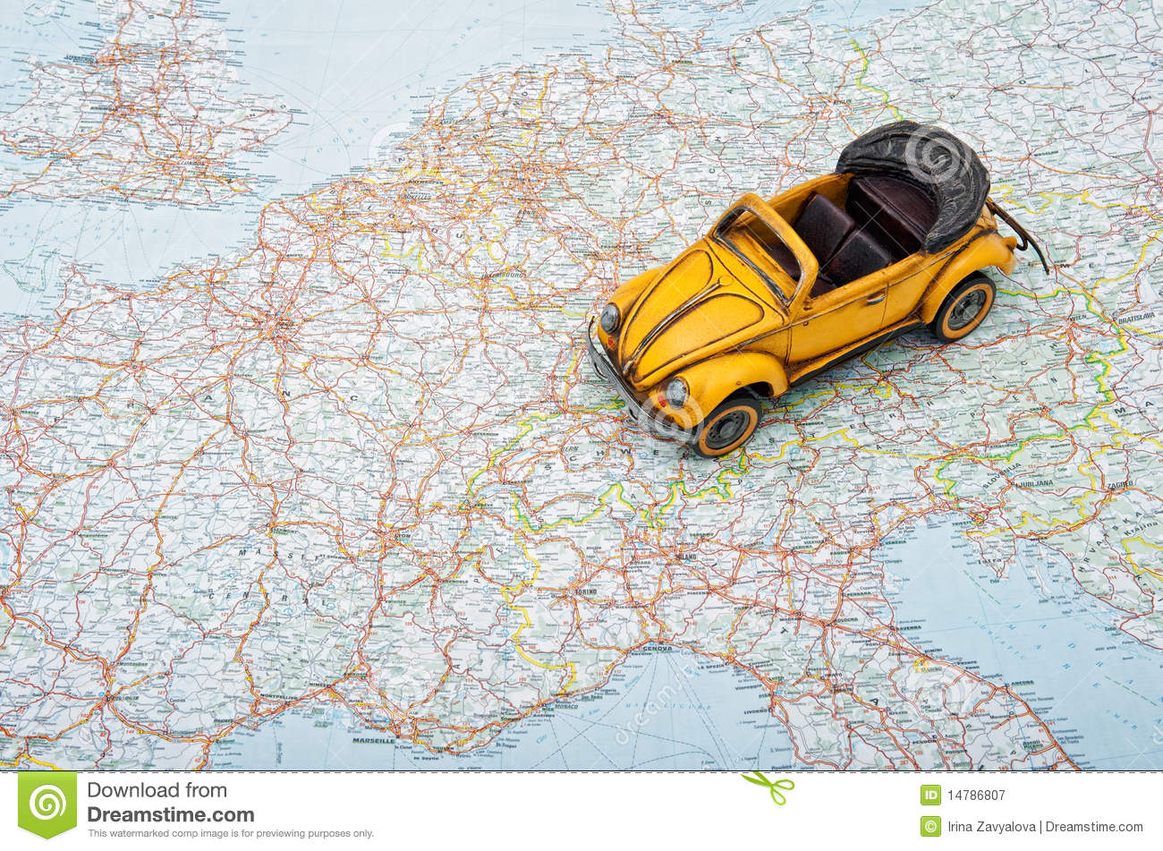 Travel By Car A Toy Car On Europe Map Royalty Free – Travel Map Of Europe