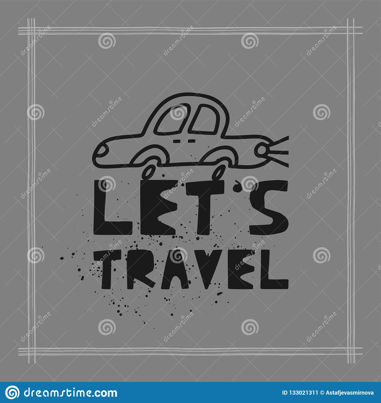 Travel card concept with car and text `let`s travel` Doodle style