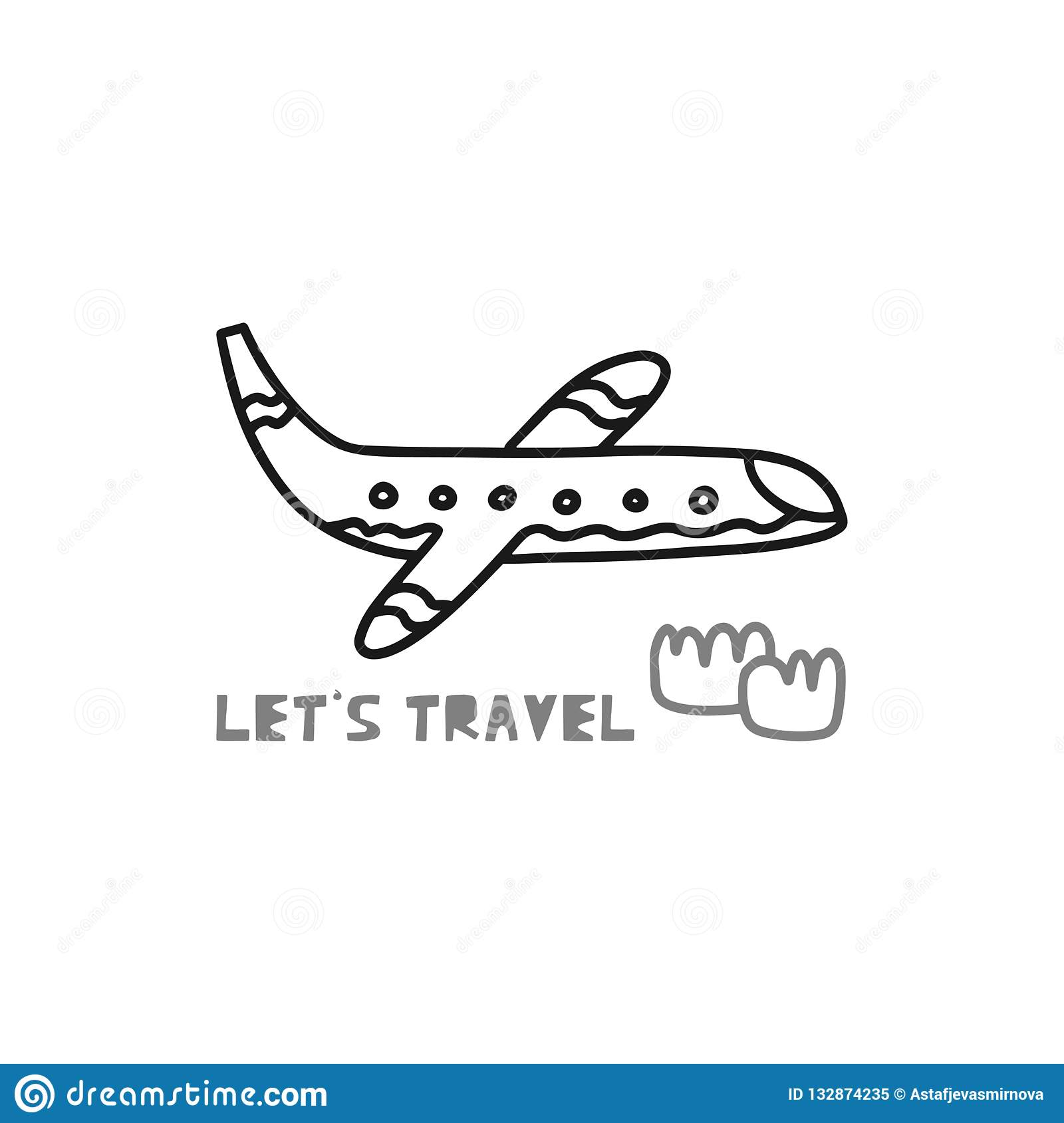 Travel card concept with plane and text `let`s travel` Doodle style