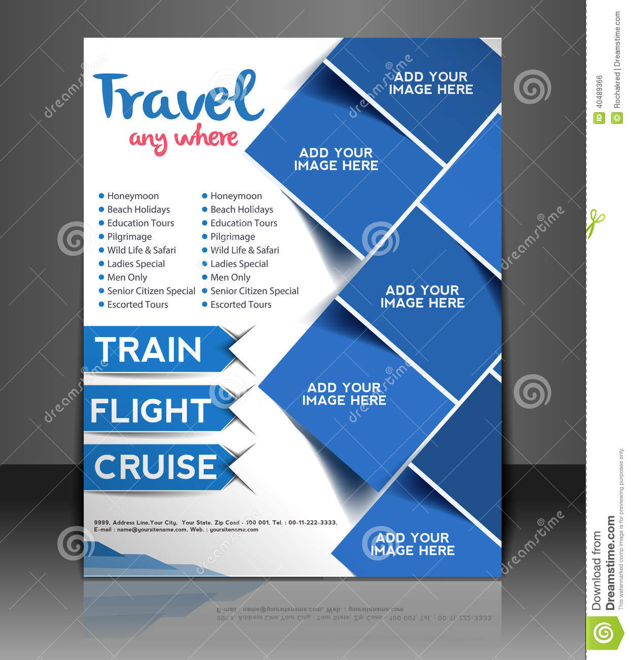 Travel center flyer design stock vector illustration of for Free poster design templates
