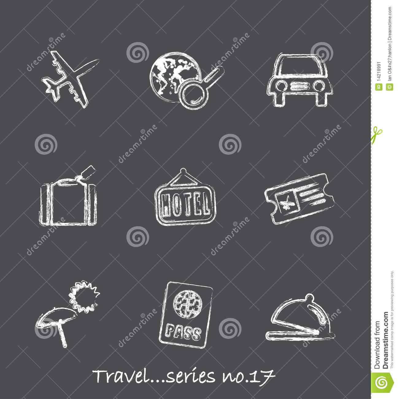 travel chalkboard iconsseries no17 stock vector