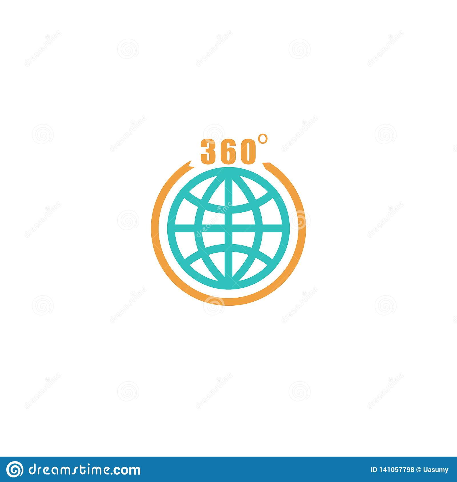 Travel circle mockup logo, globe arrow with 360 degrees, tourism icon