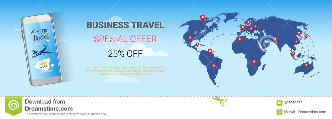 Travel Company Sale Banner Business Tour Special Offer Template - Cheap world maps for sale
