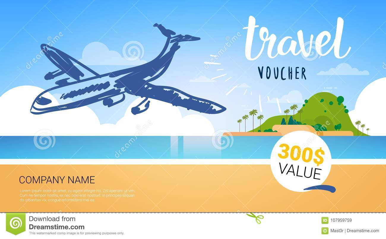 Travel Company Template Voucher With Airplane Flying Over Beautiful Tropical Beach Background Tourist Agency Poster