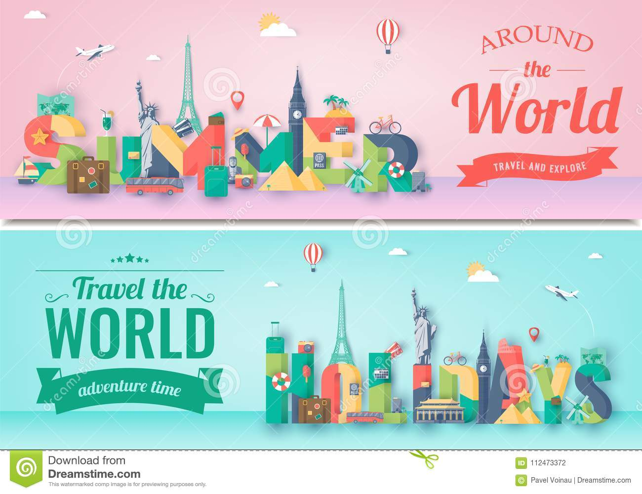 travel composition with famous world landmarks travel and tourism