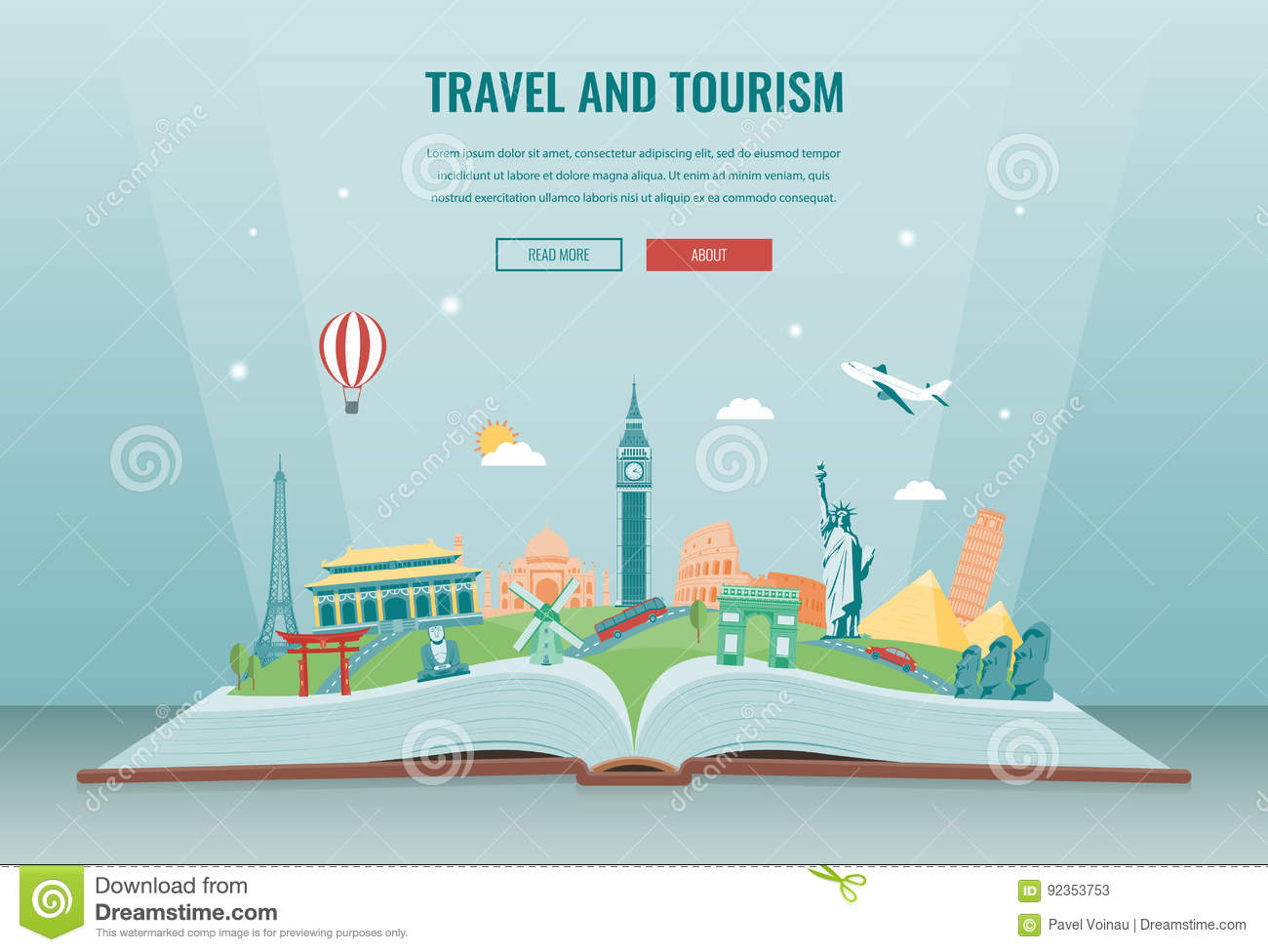Travel composition with famous world landmarks. Travel and Tourism. Concept website template. Vector.