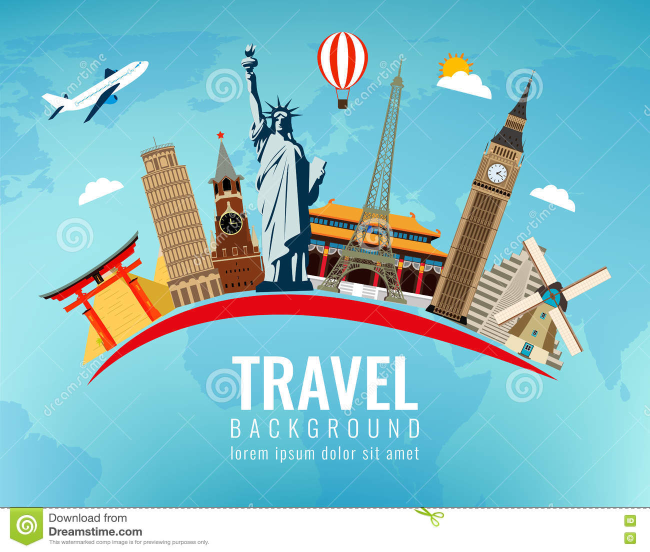 Travel composition with famous world landmarks travel and tourism travel composition with famous world landmarks travel and tourism vector modern flat design sciox Image collections