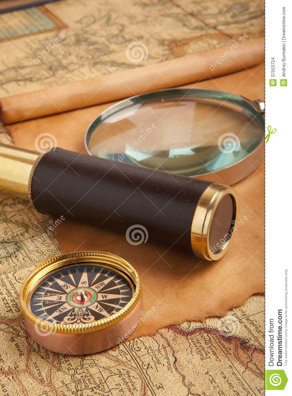 Travel concept stock photo. Image of magnify, brass ...