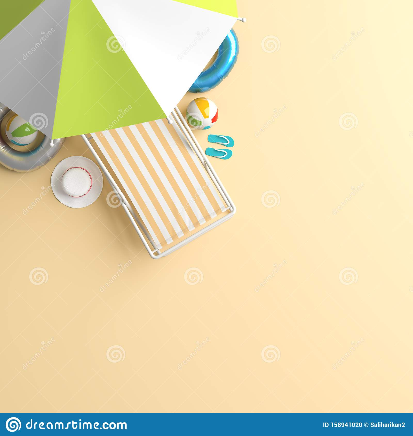 Travel Concept Background Design With Sea Bed And Umbrella