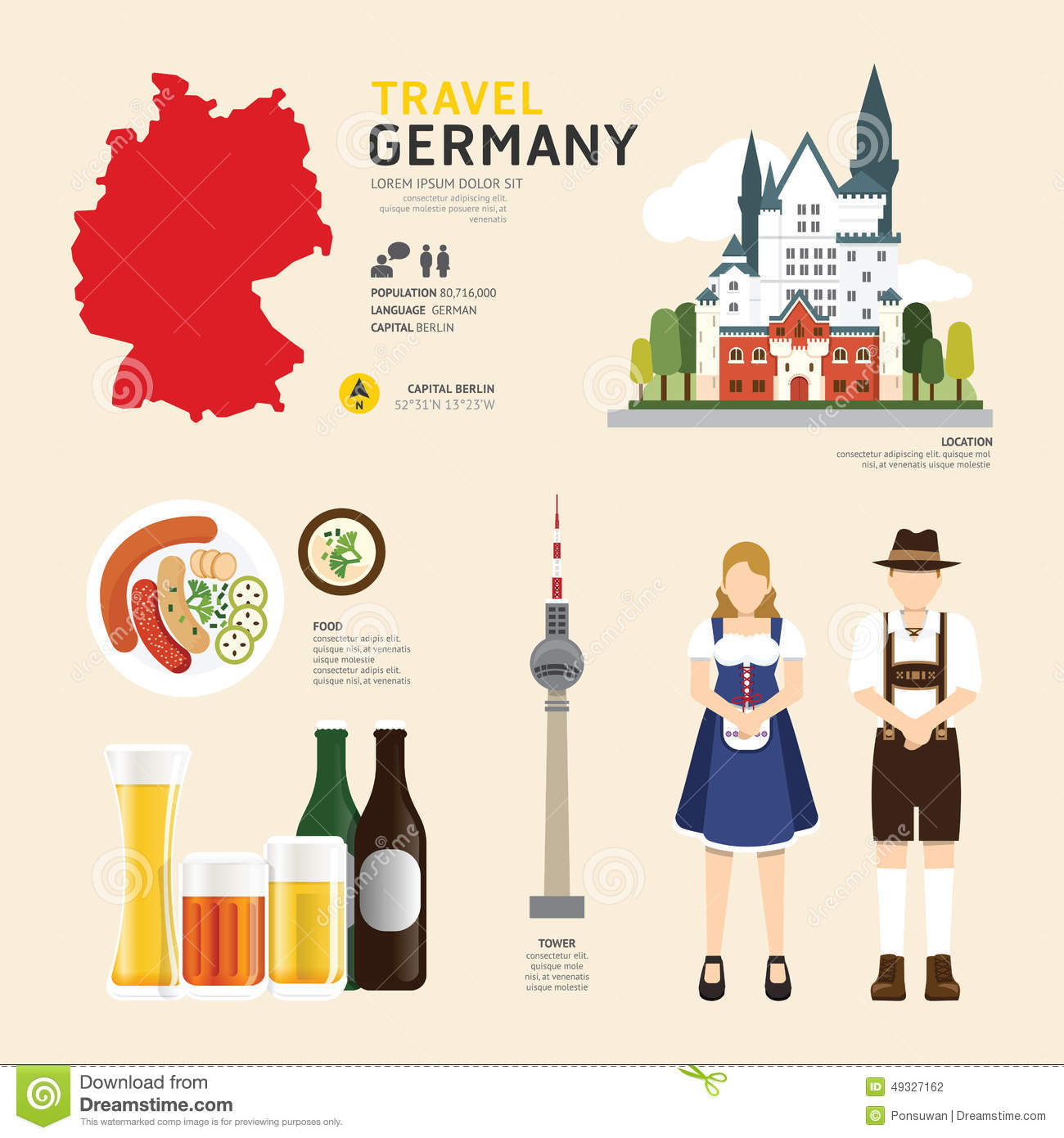 Travel Concept Germany Landmark Flat Icons Design .Vector ...