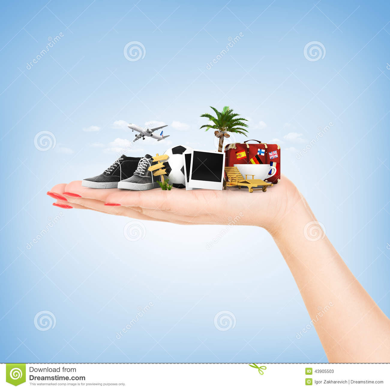 Travel Concept Hand Holding Atribute Travel And Holiday Stock Image
