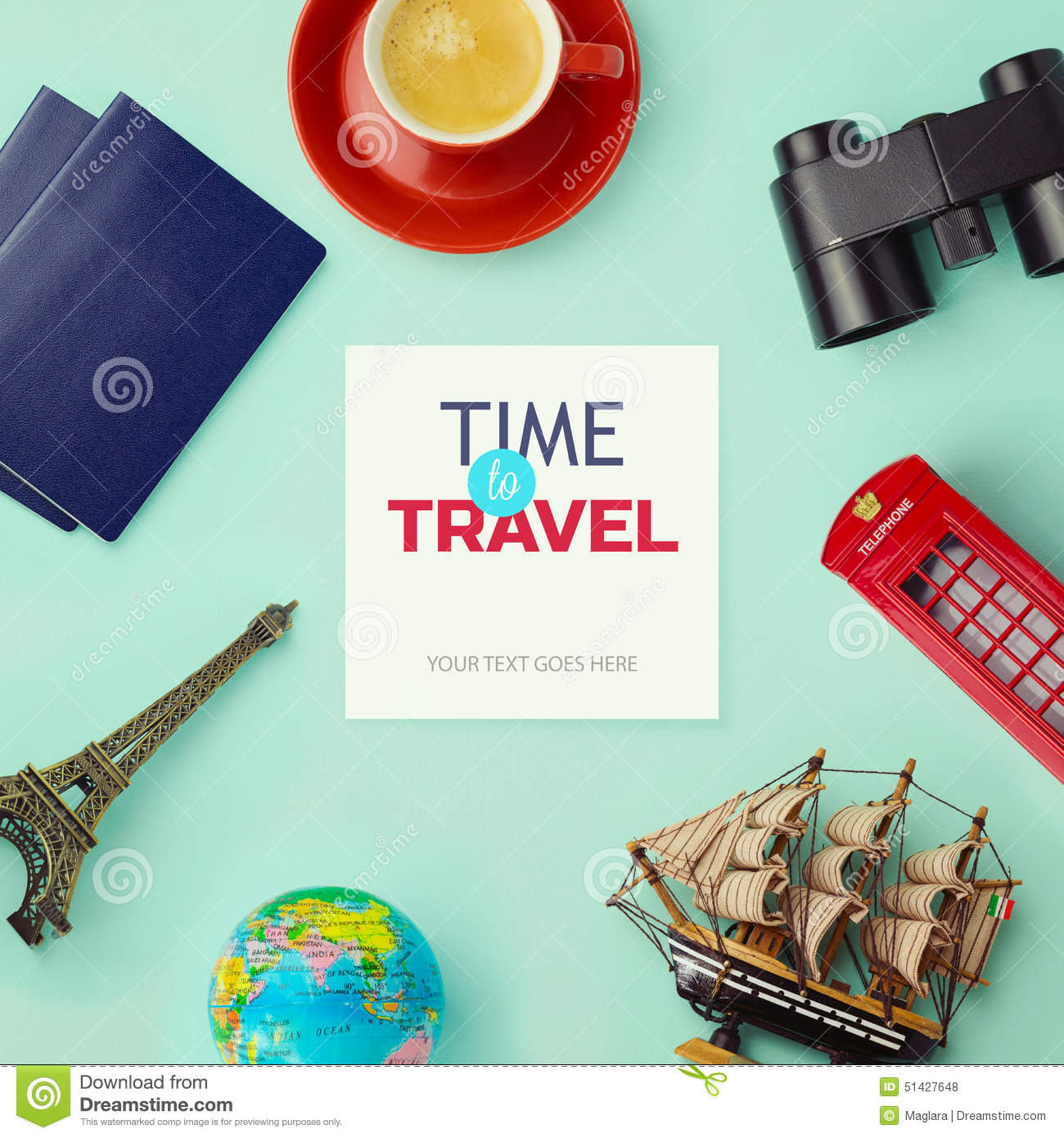 Travel concept mock up design. Objects related to travel and tourism around blank paper. View from above