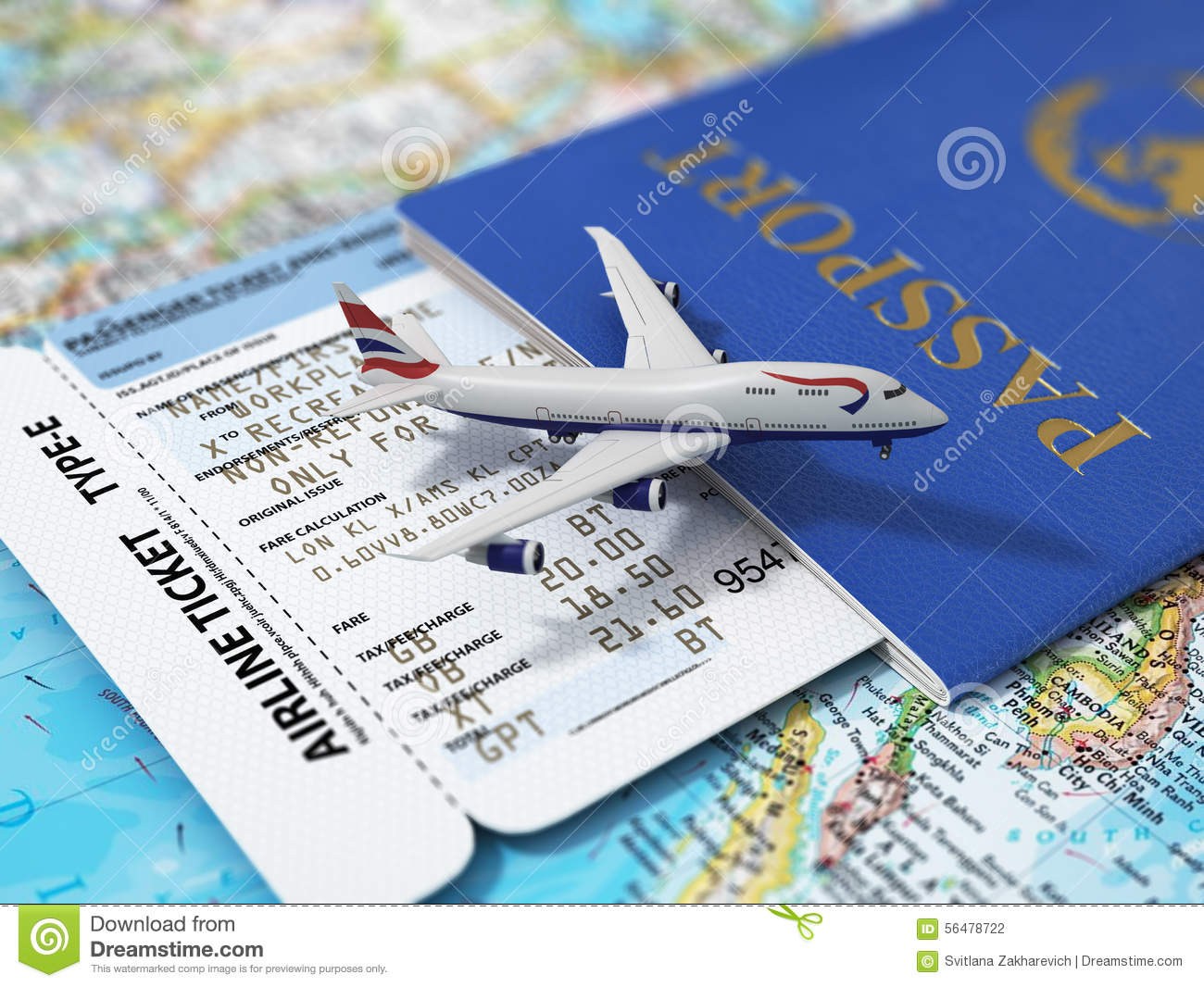 Travel Concept. Passports, Airline Tickets And Airplane ...