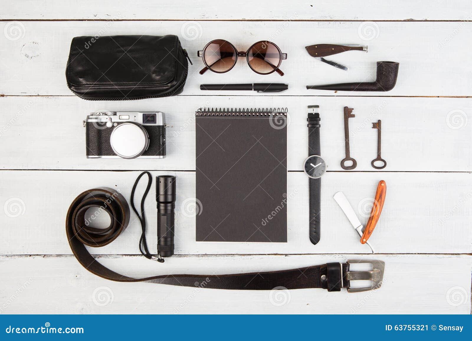 Travel concept a set of cool men 39 s accessories stock for Men s bathroom accessories