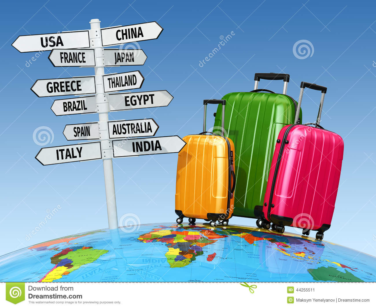 Travel concept suitcases and signpost with countries for Countries to go on vacation