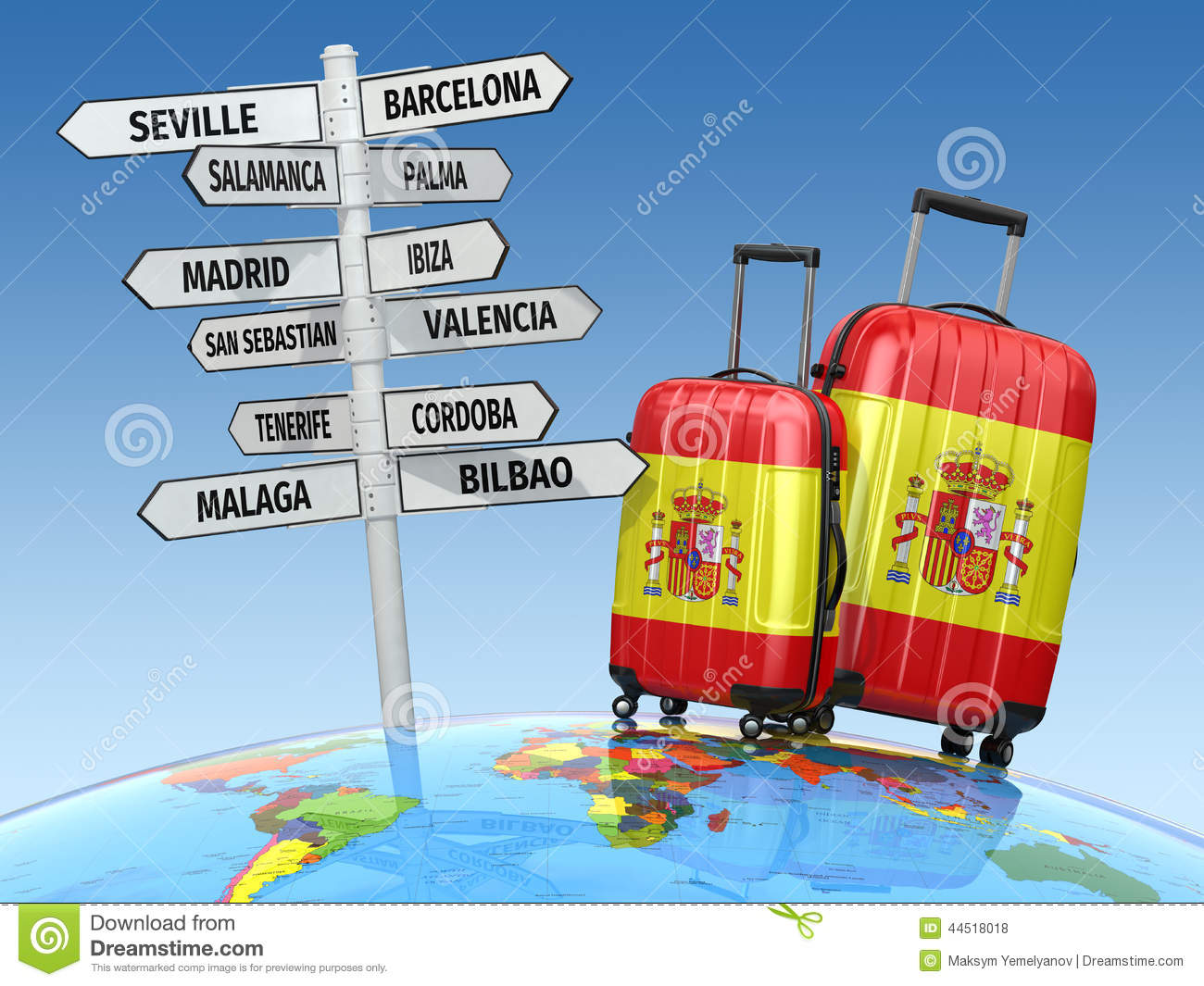 travel concept suitcases and signpost what to visit in spain stock illustration illustration. Black Bedroom Furniture Sets. Home Design Ideas