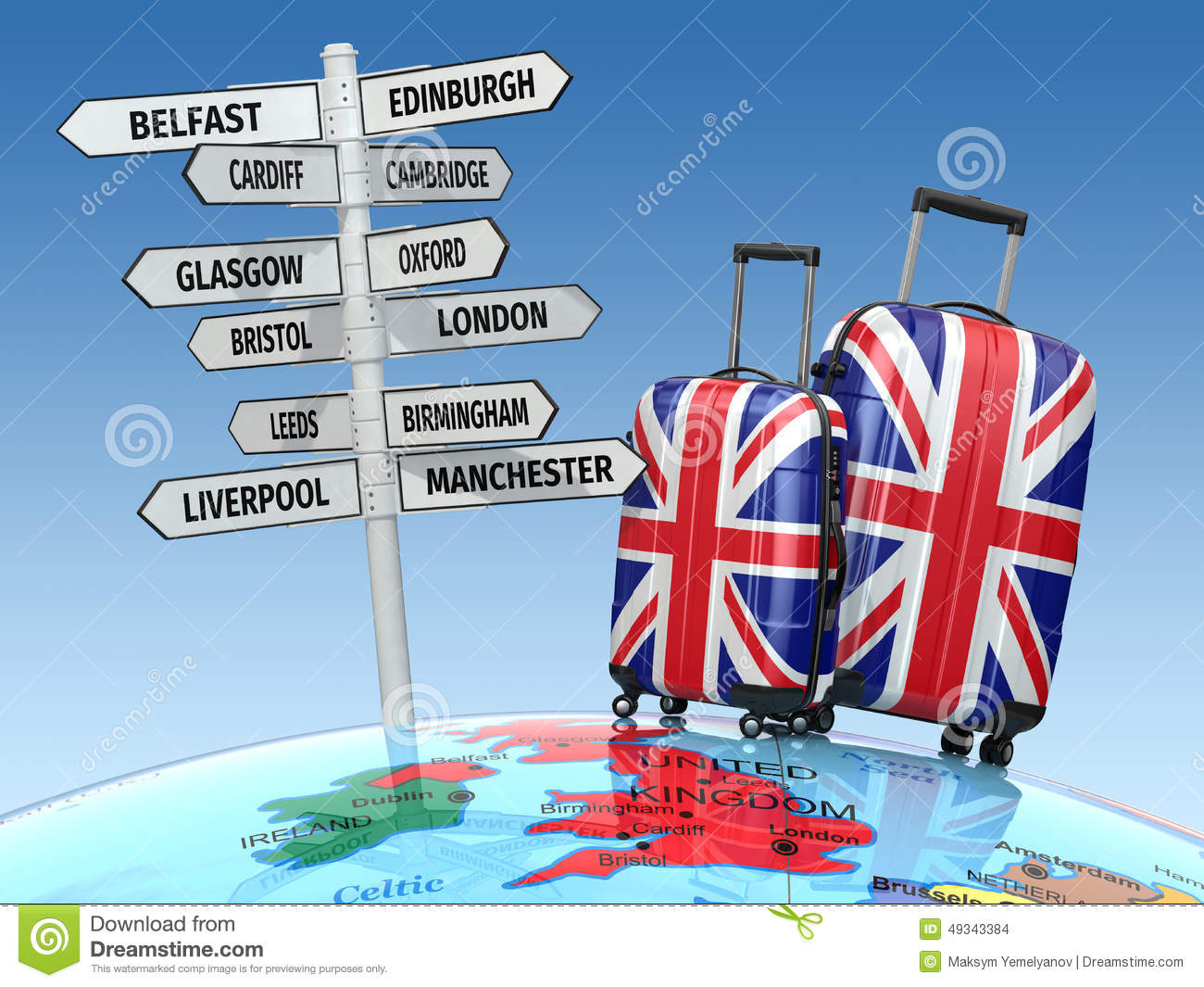 Travel Concept. Suitcases And Signpost What To Visit In UK ...