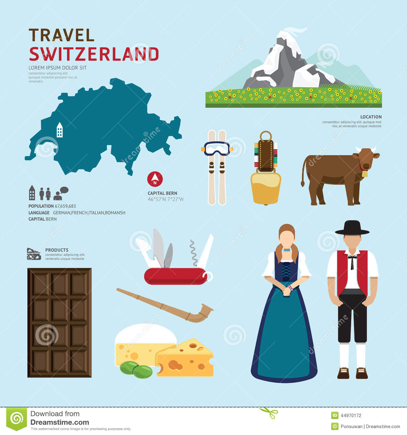 travel concept switzerland landmark flat icons design cowbell clipart free cowbell image clipart