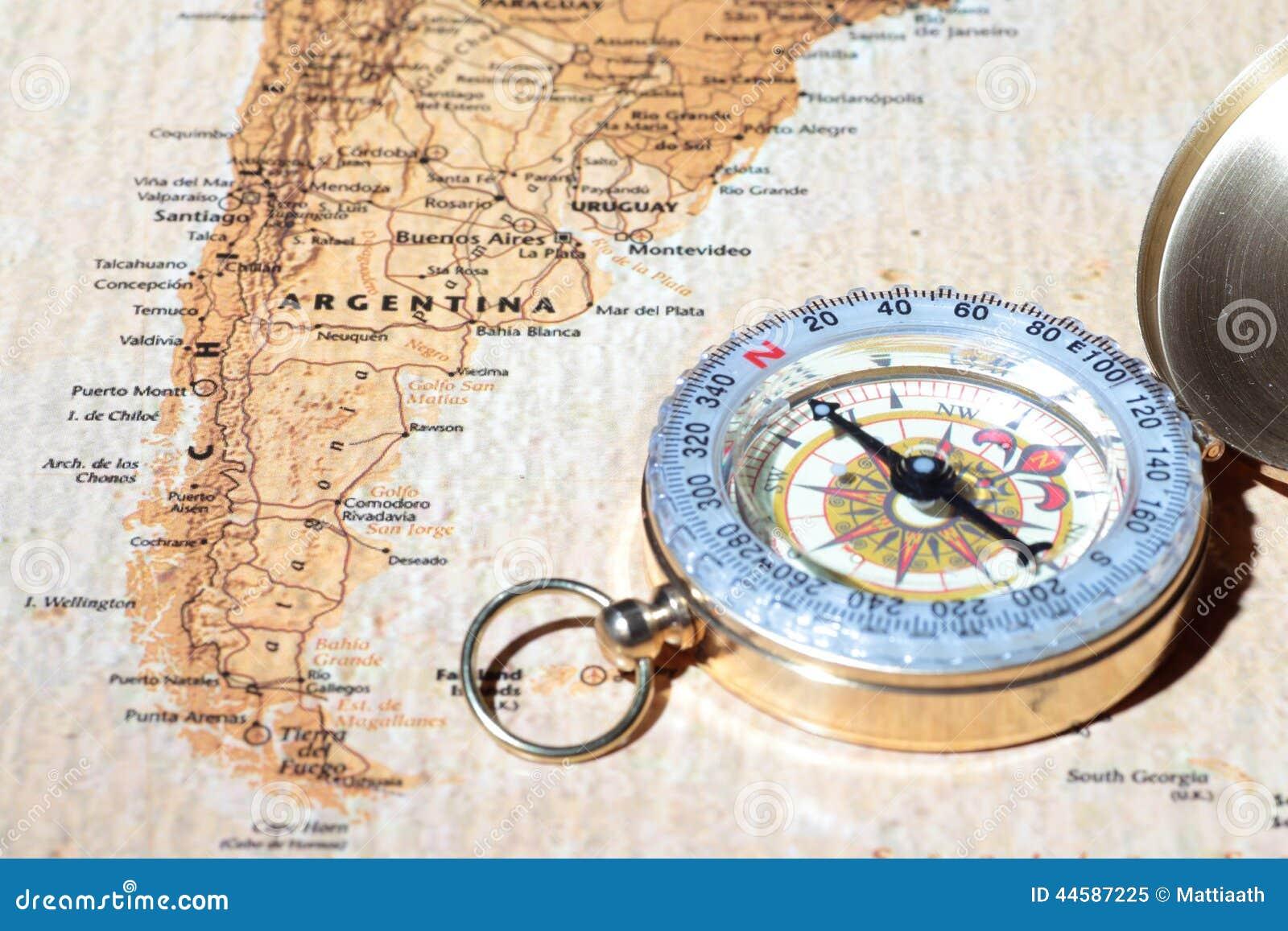 Travel Destination Argentina Ancient Map With Vintage Compass - Argentina map vintage