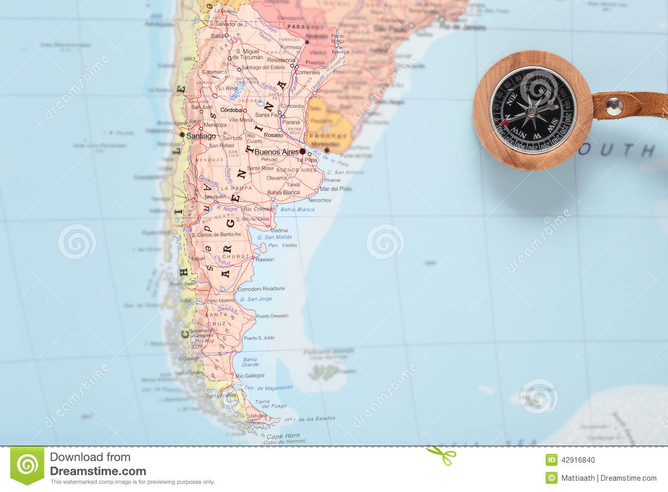 Travel Destination Argentina Map With Compass Stock Photo Image - Argentina map download
