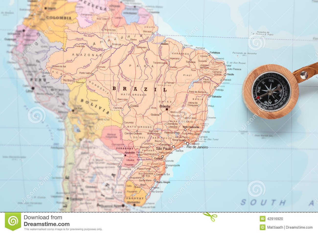 America Map With Compass.Travel Destination Brazil Map With Compass Stock Photo Image Of