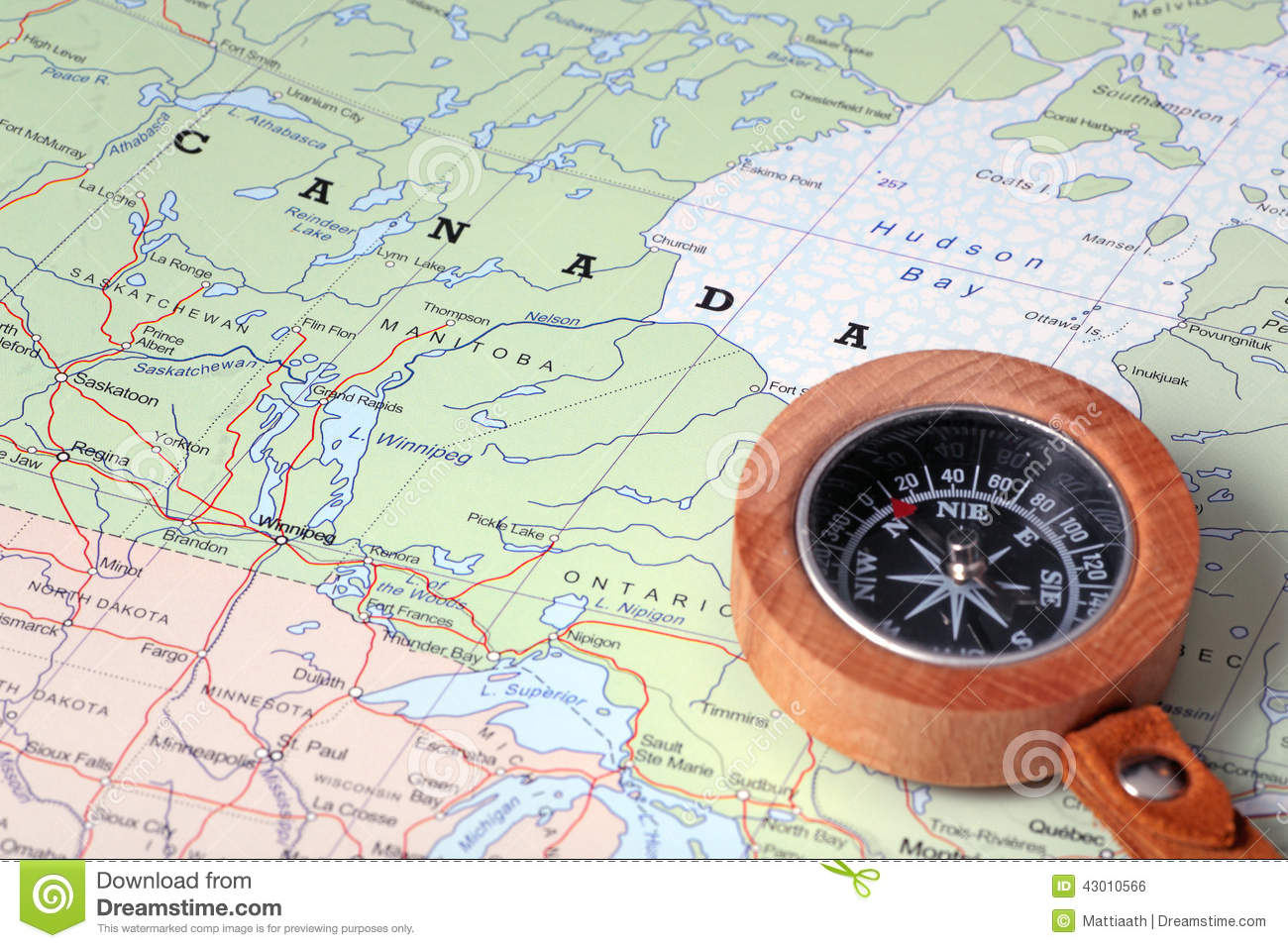 travel destination canada map with compass