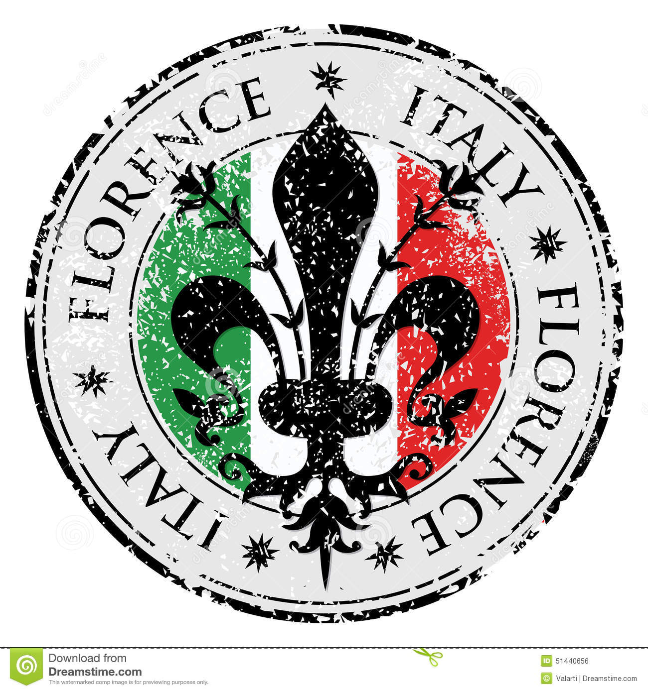 Travel destination grunge rubber stamp with symbol of Florence, Italy inside,the fleur de lis of Florence