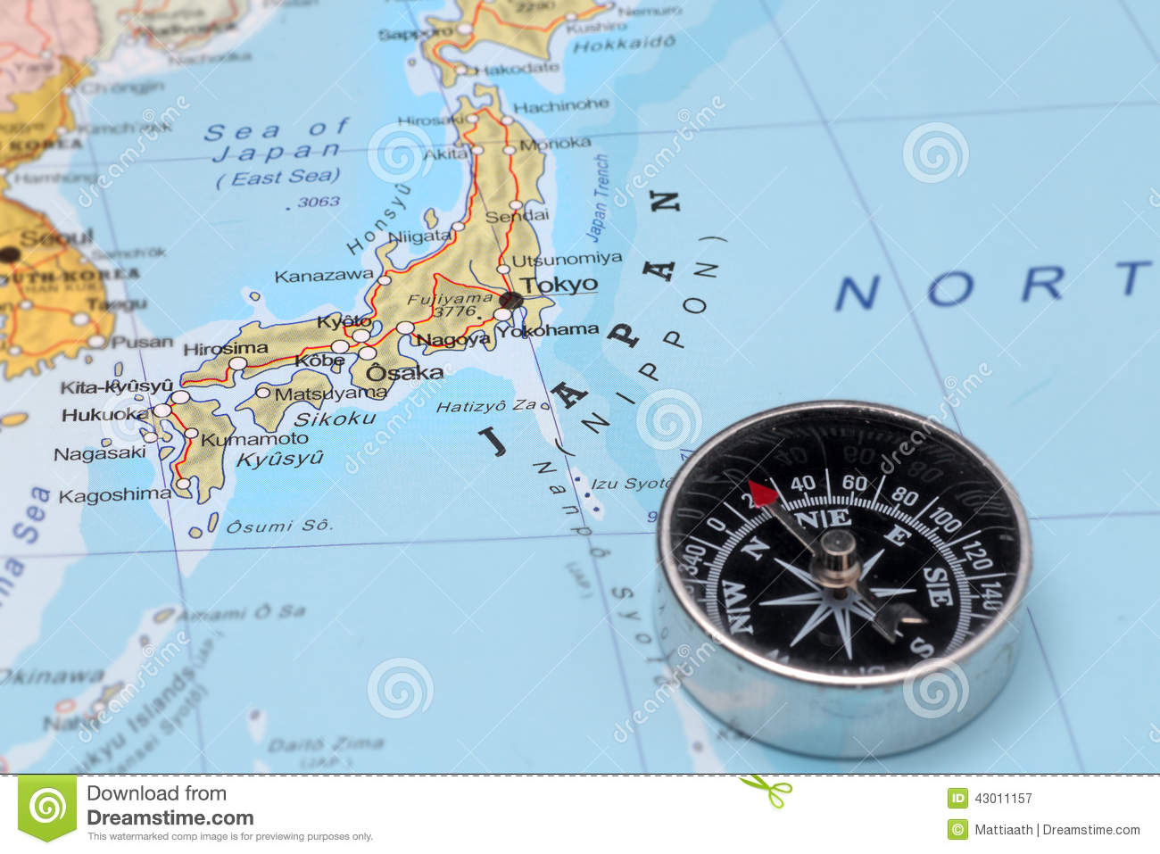 travel destination japan map with compass stock image image of