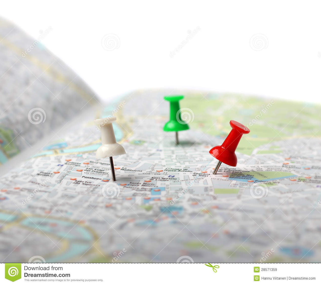 Travel Destination Map Push Pins Stock Image   Image of symbol