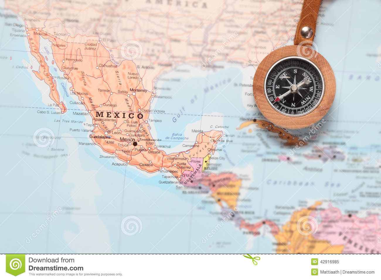 Travel Destination Mexico Map With Compass Stock