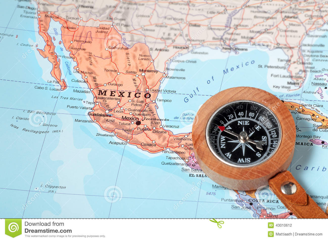 Travel Destination Mexico, Map With Compass Stock Photo  Image