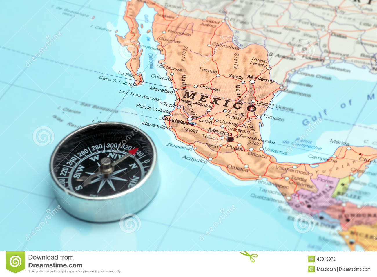 Travel Destination Mexico Map With Compass Stock Photo Image 43010972