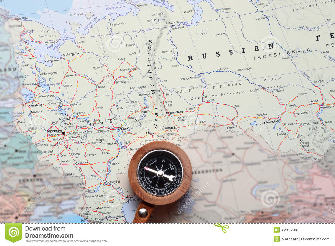 Travel Destination Moscow Russia, Map With Compass Stock Photo ...